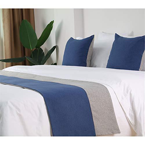 Cama de lino manera de la bufanda cama Cubierta de la plataforma corredores edredón las colchas de cama Toalla lecho de la decoración para el dormitorio del hotel,Dark blue-48X260cm for 200cm bed