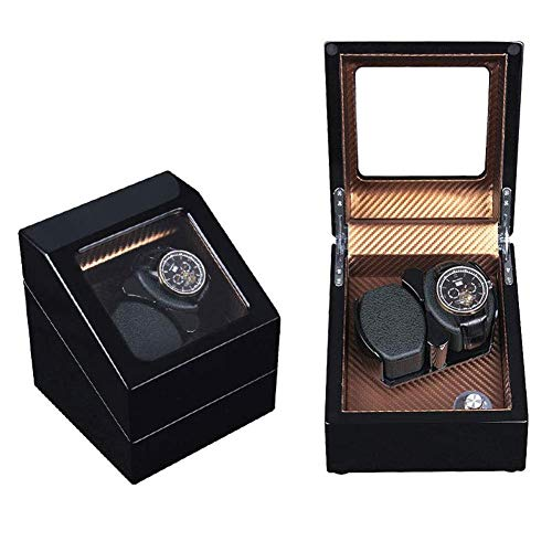 ZHANGYH Caja de reloj mecánica automática, doble enrollador de reloj, motor silencioso con 5 modos de rotación, caja de almacenamiento para relojes de madera (color F)
