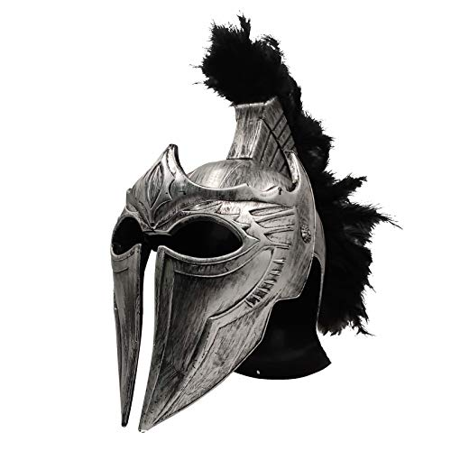LOOYAR Roman Medieval Knight Soldier Warrior Costume Helmet Hat Sallet with Black Feathers and Folding Face Mask for Battle Play Halloween Cosplay LARP