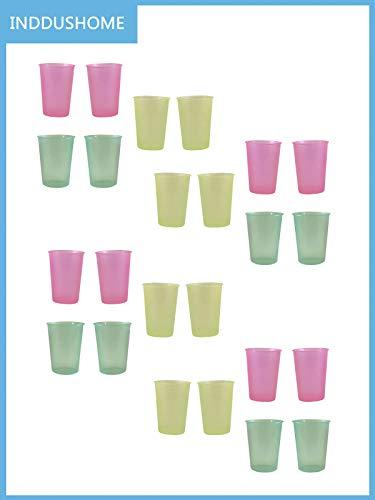 InddusHome Plastic ABS Polycarbonate Water/Juice Glass - 24 Pieces, Multicolour, 300 ml
