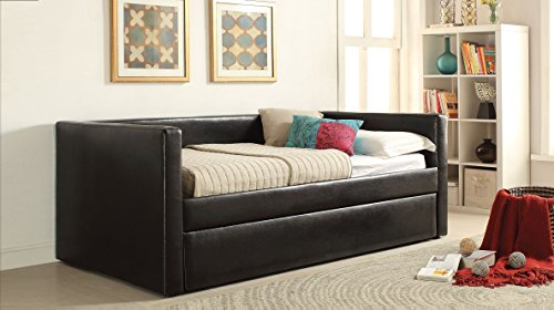 ACME Aelbourne Black Faux Leather Daybed & Trundle