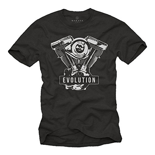 MAKAYA Ropa Moto Hombre - Evolution - Camiseta Motera T-Shirt Evolucion Motor Davidson Negro L