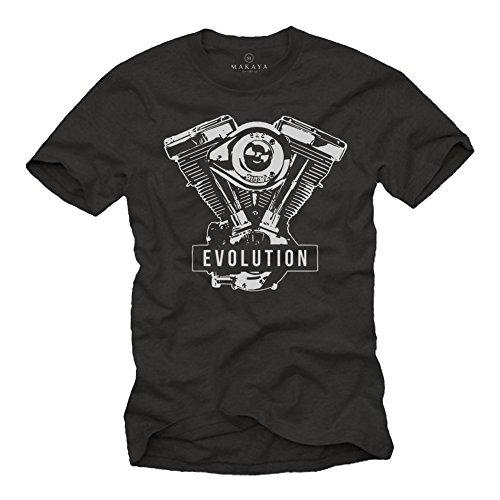 Geschenke für Motorradfahrer - Biker Evolution Davidson T-Shirt Motorrad Motor - schwarz mit Aufdruck XL