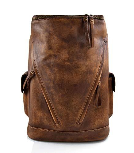 41JAW M0rzL - Mochila de piel vintage mochila piel lavada mochila marrón hombre mujer mochila viaje mochila de cuero mochila sport…