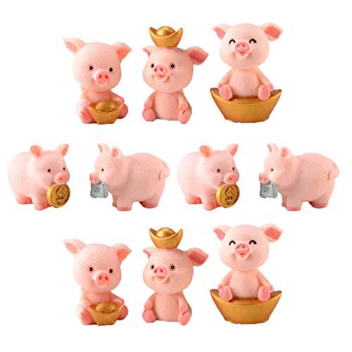 OUNONA 車 飾り インテリア 癒し系 かわいい 豚 置物 鉢植え DIY 飾り物 プレゼント 10個セット