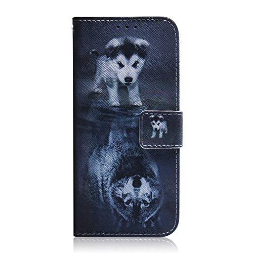 Reevermap Nokia 3.2 Hülle Handyhülle für Nokia 3.2 Lederhülle Hülle Cover Tasche Flipcase Schutzhülle Handytasche Ständer Magnet Geldbörse Kartenfach, Wolf