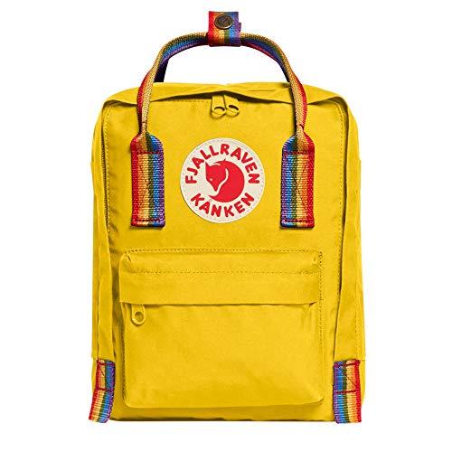 Fjällräven Kånken Rainbow Mini Rucksack Unisex Erwachsene, Unisex, Tagesrucksack, F23621, Warmes gelbes Regenbogen Muster (gelb), 7 l