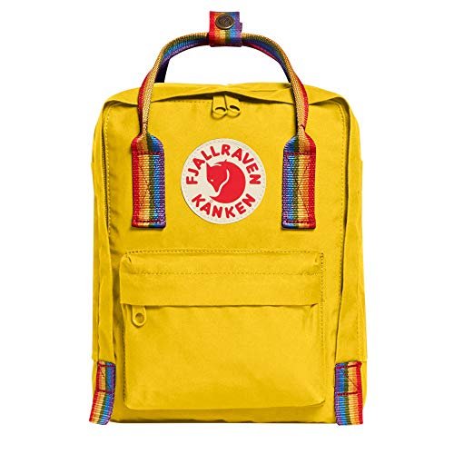 FJÄLLRÄVEN Unisex_Adult Kånken Mini Daypack, Warm Yellow Rainbow Pattern (Yellow), 7 l