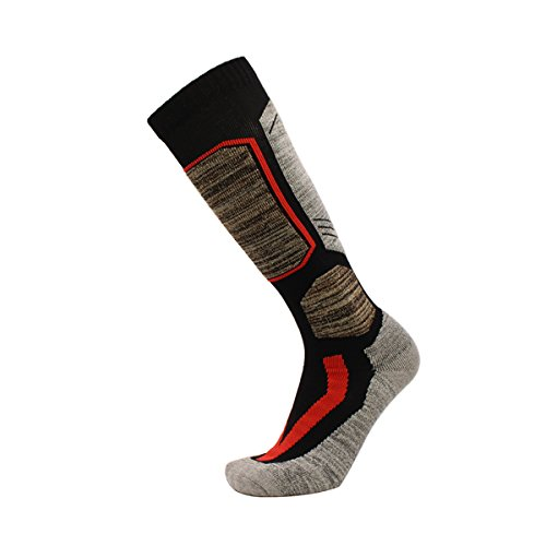 Ski Socks, WeiMeet Knee High Warm Skiing Snowboard Socks for Men and Women (M, Black)