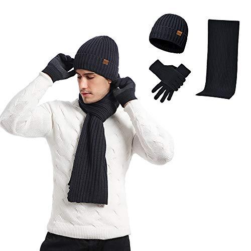 Winter-Strickmütze, Halswärmer, Schal und Touchscreen-Handschuhe, 3-teiliges Set, mit Fleece gefütterte Totenkopf-Mütze für Herren/Damen, Blau