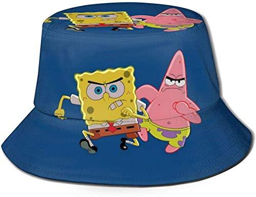 Sombrero de Cubo para Correr SP-Onge-Bob-Sq-uare-Pants Gorra de Verano Plegable Estampada al Aire Libre Sombreros de Pesca de Sol Boonie