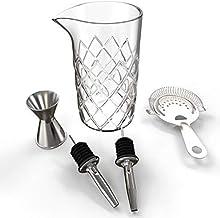 Jarra Yarai Para Mezclar Cocteles (500 ml) – Vaso Grande de Cristal Estilo Vintage – Profesional Vaso Mezclador – Juego Incluye Colador de Gusanillo Hawthorne, 2 Vertedores de Licor, y Medidor Doble