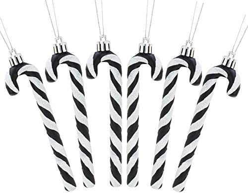 Christmas Concepts® Pack Of 6-13cm Glitter Candy Cane Christmas Tree Decorations (Black & White)