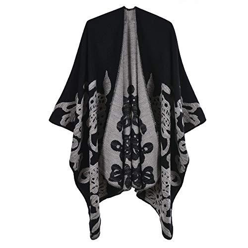 Aceshop Damen Poncho Habe Gestrickt Kaschmir Überdimensionalen Decke Kap-Schal