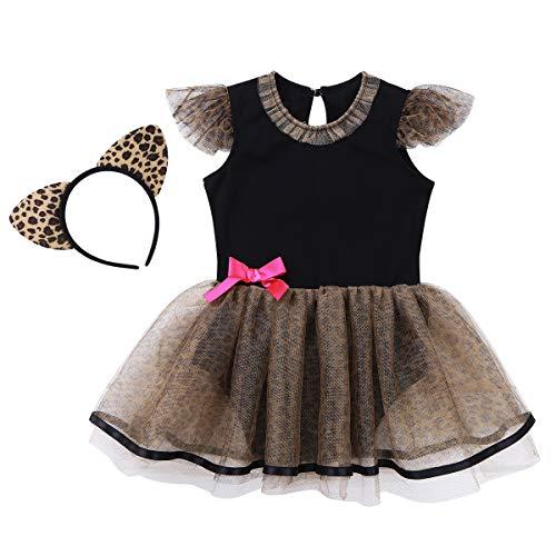 ranrann Vestido de Leopardo para Bebé Niña Disfraz de Gato Vestido de Princesa Infantil Manga con Volantes Body Traje Fiesta Carnaval con Diadema Negro Y Marrón 6-12 Meses
