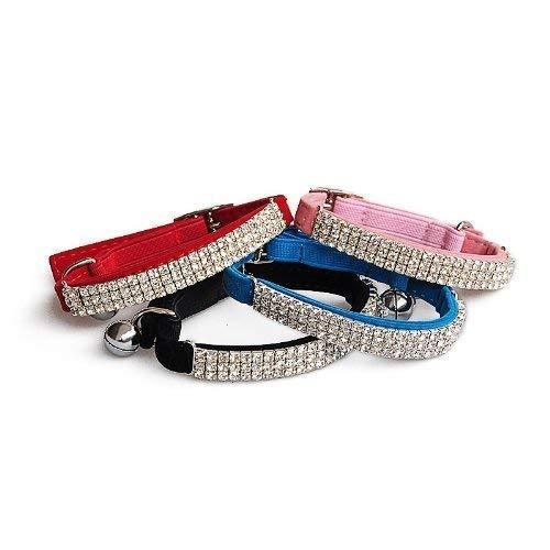 DAIXI Weicher Verstellbarer Samt Sicherer Bling Diamante Katzenhalsband Mit Glocken Für Kätzchen Welpe Schwarz + Rosa + Rot + Blau