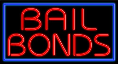 Bail Bonds Glass neon Sign USA in Mesa Mall Product Made #11048