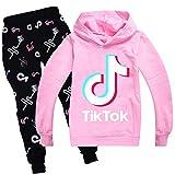 wuyyii Unisex Children's TIK TOK Casual Hoodie Suit Sweatshirt + Sweatpants-Pink_170cm