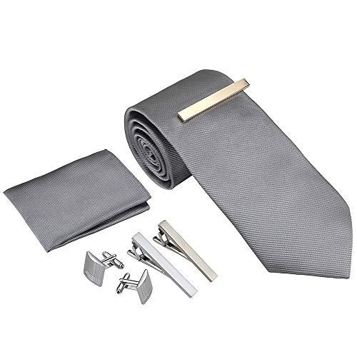 Rovtop Herren Krawatte Set mit 1 Paar Manschettenknöpfe, 3 Krawattenklammern, handgemachte Seide in Geschenkbox Geschenk für Weihnachten,