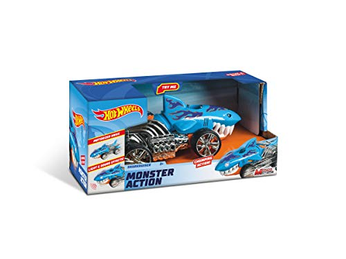 Mondo Motors - Hot Wheels Monster Action Monster Action SHARKRUISER - macchina a frizione per bambini- luci e suoni - 51204