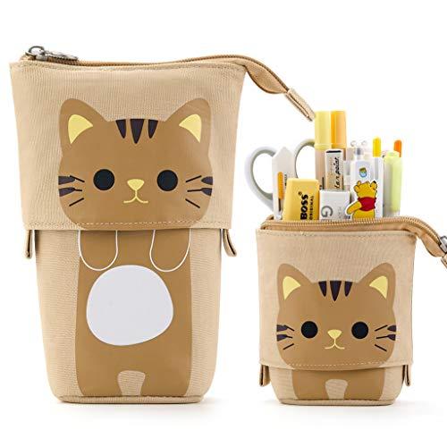 EASTHILL Federmäppchen Cartoon-Katze Bleistifthalter Süßer Mäppchen Stehbleistiftbeutel Tasche Tasche Schreibwarenetui Geschenk für Schülerin Teenager Mädchen Erwachsenenschulbüro-Kaffee