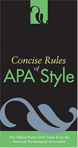 Concise Rules Of APA Style (Concise Rules of the American...