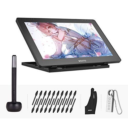 Kit de tableta gráfica, 15,6 pulgadas IPS Dibujo Tablet 1920 * 1080 alta resolución con lápiz capacitivo recargable/20 pinzas