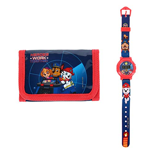 Textiel Trade Kid's Nickelodeon Paw Patrol Wallet and Watch Set, Blue