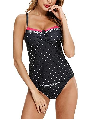 Aibrou Damen Zweiteilige TankiniSets Bauchweg Bikini Sets Badeanzug Sportliche Beachwear Figuroptimizer mit abnehmbaren BH-Polsterungen Große Größen Elastisch Sexy Schwarz L