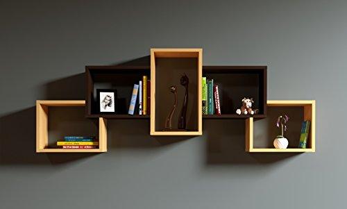 HOMIDEA Bold Mensola da Muro - Mensola Parete - Mensola Libreria - Scaffale pensile per Studio/Soggiorno in Design Moderno (Faggio/Wenge)