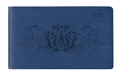Ladytimer TO GO Deluxe Blue 2020 - Taschenplaner - Taschenkalender quer (15 x 9) - Tucson Einband - Motivprägung Floral - Weekly - 128 Seiten