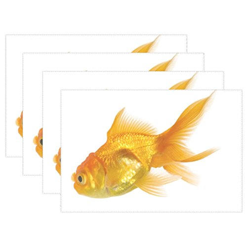 QYUESHANG Animal Fish Comet Goldfish Adorable Small Yellow Water White Simple Heat-Resistant Table Placemats Set of 4 Stain Resistant Table Mats Washable Eat Mat Home Dinner Decorative