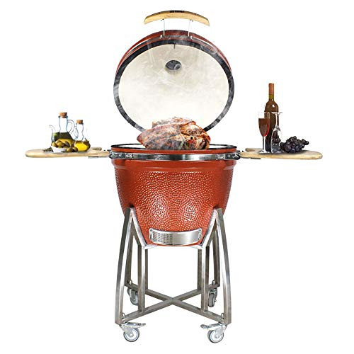 """RJMOLU 23"""" Free Standing Grill, Roaster and Smoker. BBQ Grill, Multifunctional Ceramic Barbecue Grill, Egg Outdoor Kitchen Style"""