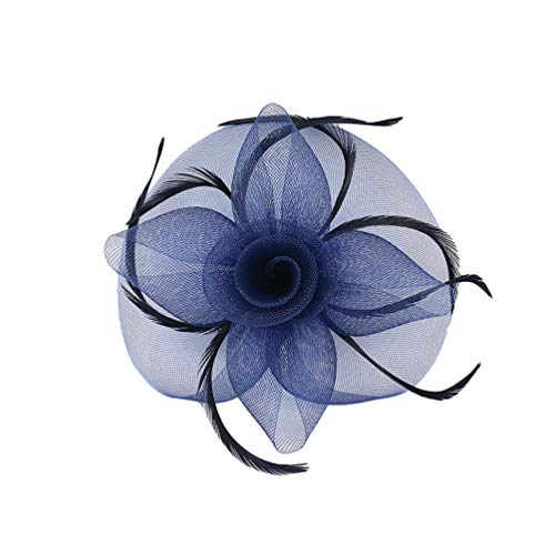 Lvguang Klassischen Stil Damen Mesh Haarschmuck Einfarbig Große Blume Dekoration Schleier Kopfschmuck (Marine)