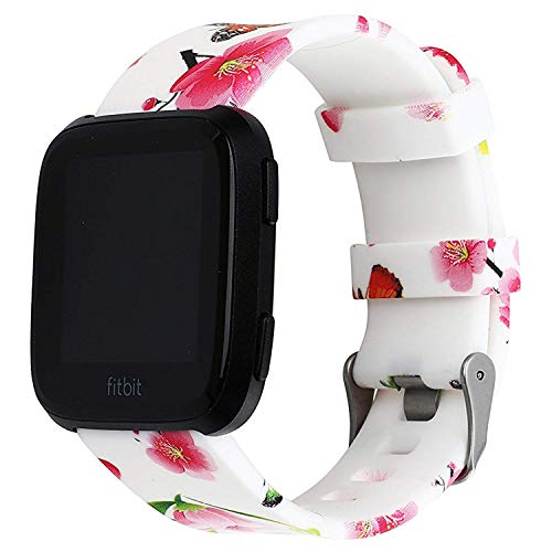 DBoer Replacement Bands for Fitbit Versa Spring Peach Blossom Print Fitbit Bands for Women