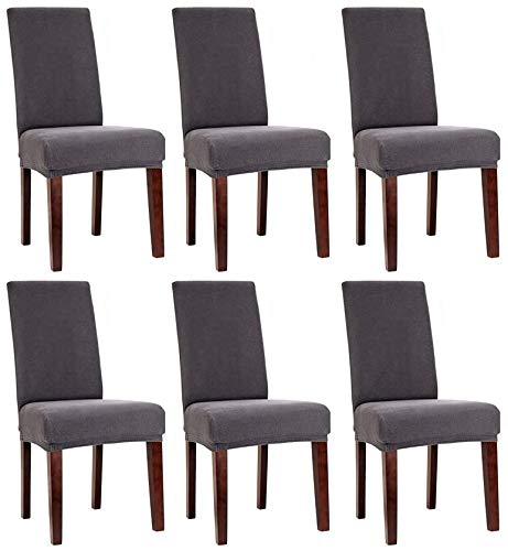 Bellboni Stuhlhussen, strapazierfähige, hochwertige Stuhlbezüge aus starkem Stoff, Stuhlüberzüge, Hussen passend für viele Stuhlgrößen elastisch, bi-elastic, 6 Pack, elastic anthracite / anthrazit
