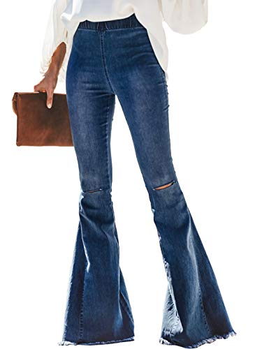 Anna-Kaci Women's Classic Elastic Waist Destroyed Flare Jeans Bell Bottom Denim Pants, Dark Denim, Large