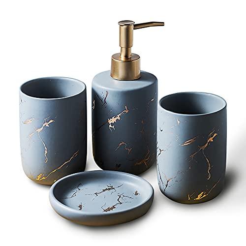 BQSWYD Set Accessori Bagno in Ceramica 4 Pezzi, Set di 4 Accessori per Il Bagno Set da Bagno Portaspazzolino, Portasapone, Distributore di Lozione e Bicchiere per Spazzolino Set Bagno (Gray)