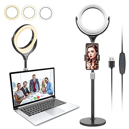 Selfie Ringlicht für Handy Tisch, BlitzWolf Tischringlicht mit Handyhalter, 3 Farbe und dimmbare 10 Helligkeitsstufen, Ringleuchte für Youtuber, Vlog, Streaming, schminken, Fotografie,TikTok