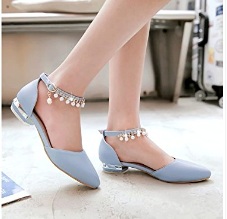WHW Women's Spring Summer Comfort PU Dress Casual Flat Heel Magic Tape Sandals,43,Skybluee