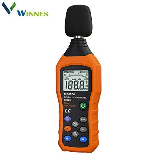 Winnes Digital Schallpegelmessgerät Digital Sound Level Meter Decibel Meter Lärm Messgerät DatenspeicherungfunktionMessung Range 30-130dB schnell reagierend großer LCD-Bildschrim mit Hinterbeleuchtung