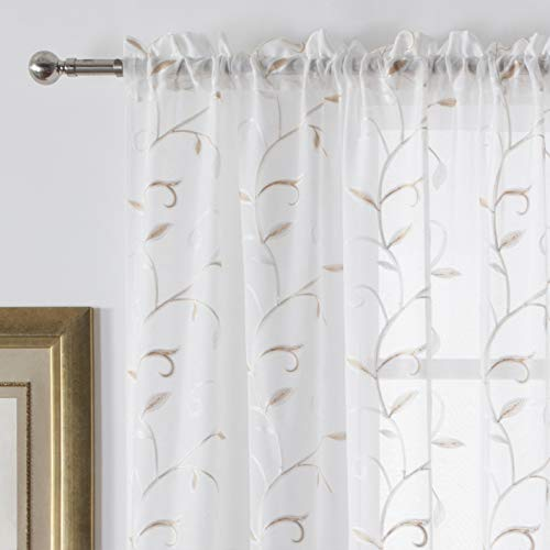 VISIONTEX White Sheer Voile Curtains, Decorative Beige Leaves Embroidery Faux Linen Rod Pocket Window Drapes for Home Kitchen, Living Room and Bedroom 54 x 95 Inch, Set of 2 Curtain Panels