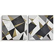 Black and Gold Wall Decor for Bedroom, Abstract Geometric Wall Artworks Canvas Print Art , Framed, 24 X 24 inch