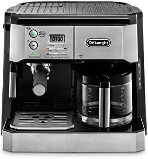 DeLonghi BCO430 máquina de café espresso y cafetera de filtro por 10 tazas con espumador de leche, color plateado y negro