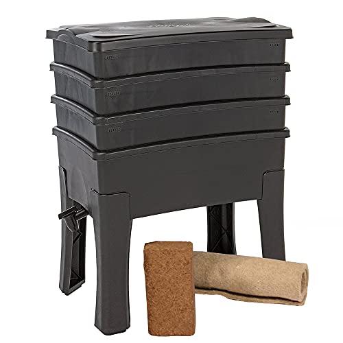 Vermicompostador Worm Café, 3 bandejas I Kit Completo I Grand Capacidad de 96 litros,