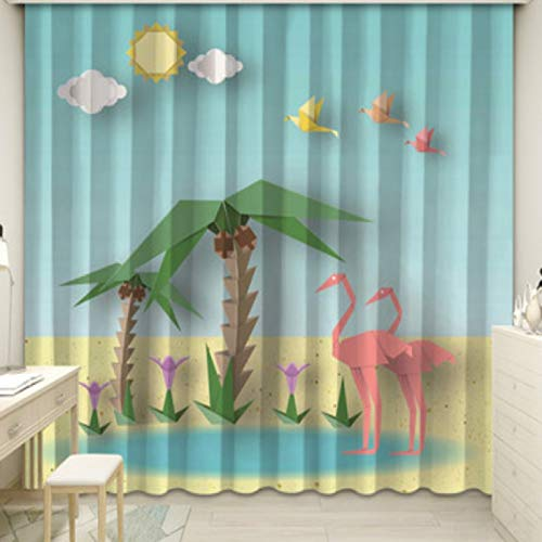 yug Cortina Decoración Sencilla Sala De Estar Habitación De Los Niños Dormitorio Bahía Ventana Francesa Impresión Digital Origami De Dibujos Animados Mil Grullas De Papel