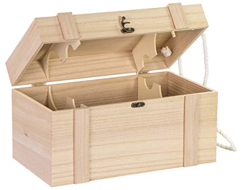 LAUBLUST Holzkiste für 4 Weinflaschen - ca. 35x19x19cm, Natur, FSC® - Weinkiste mit Deckel, 2 Trageseile & Verschluss