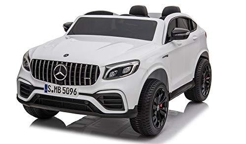 havalime Kinder Elektroauto Mercedes GLC63 S - Lizenziert, 4X 45Watt Motor, Allrad, Doppelsitzer, Kinderauto, Kinderfahrzeug, Fernsteuerung, MP3 (Weiß)