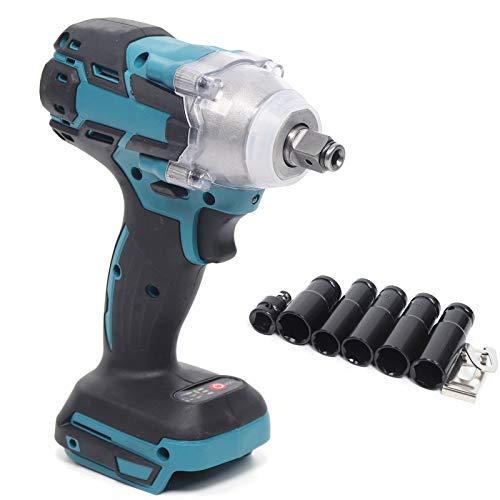 Atornillador de impacto inalámbrico de 1/2', 18 V, par de apriete de 520 Nm, compatible con luz LED, juego de atornillador de impacto para Makita