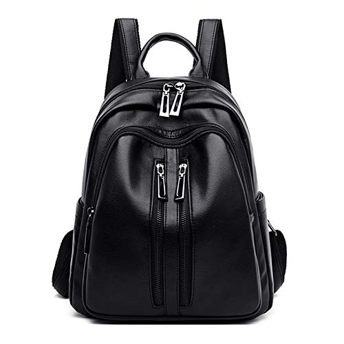 Oichy Women Backpack Ladies PU Leather Multi Pockets Rucksack Stylish Top Handle Shoulder Bag (Black)